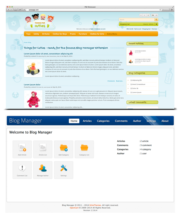 opencart template blog manager ready